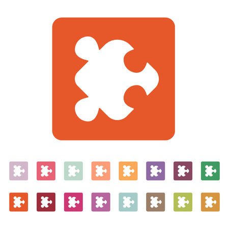 jigsaw set: The puzzle icon. Jigsaw and toy symbol. Flat Vector illustration. Button Set