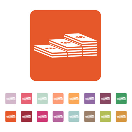 greenback: The stack of banknotes icon. Greenback, bank note, money symbol. Flat Vector illustration Button Set