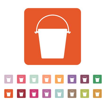 bucketful: The bucket icon. Pail and bucketful symbol. Flat Vector illustration. Button Set