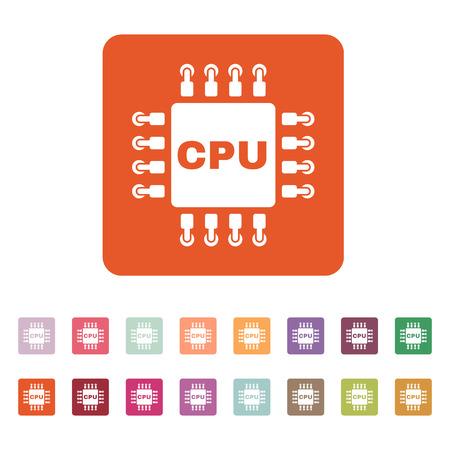microprocessor: The cpu icon. Microprocessor and processor symbol. Flat Vector illustration. Button Set