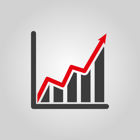 growth arrow: The growing graph icon. Growth and up symbol. Flat Vector illustration