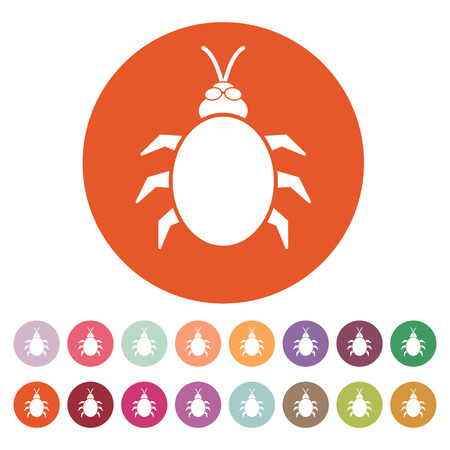 acarid: The beetle and bug icon. Acarid, insect, virus symbol. Flat Vector illustration. Button Set Illustration