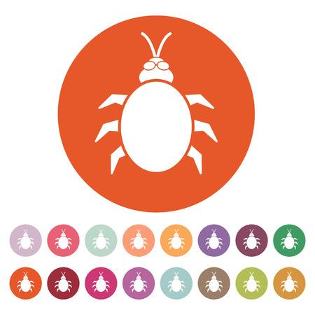 acarid: The beetle and bug icon. Acarid, insect, virus symbol. Flat Vector illustration. Button Set Illustration