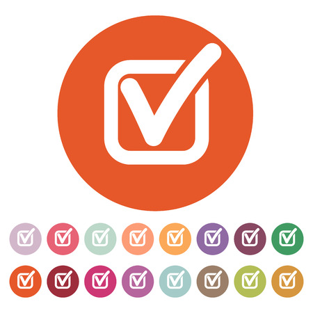 The check icon. Checkmark and checkbox, yes, voting symbol. Flat Vector illustration. Button Set Illustration