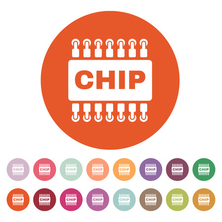 The chip icon. Microchip and microcircuit symbol. Flat Vector illustration. Button Set