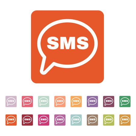 sms icon: The sms icon. Text message symbol. Flat Vector illustration. Button Set Illustration
