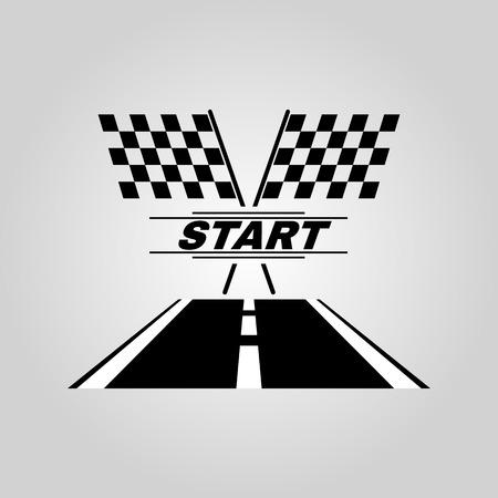bandera carreras: El icono de inicio. Iniciar símbolo. Ilustración vectorial Flat