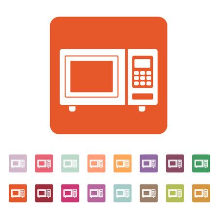 microondas: El icono de horno de microondas. Símbolo de la cocina. Ilustración vectorial Flat. Botón Set