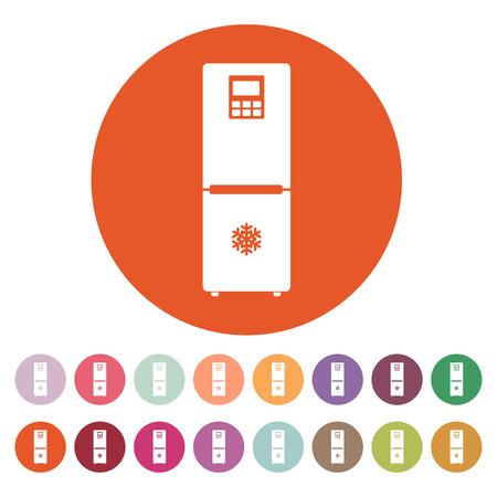 icebox: The icebox icon. Fridge and refrigerator symbol. Flat Vector illustration. Button Set