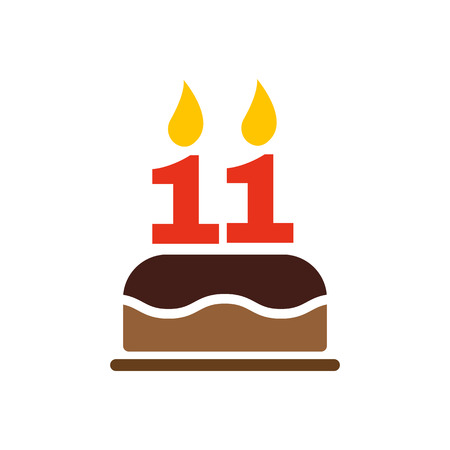 The birthday cake with candles in the form of number 11 icon. Birthday symbol. Flat Vector illustration