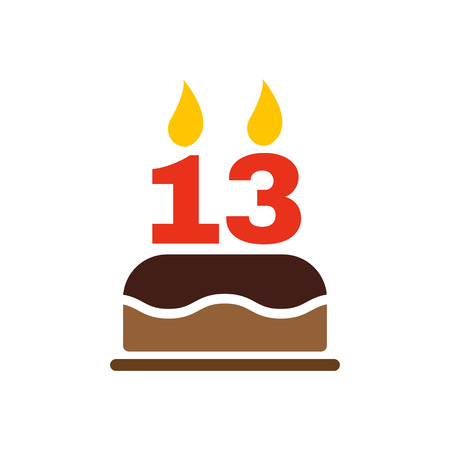 number candles: The birthday cake with candles in the form of number 13 icon. Birthday symbol. Flat Vector illustration Illustration
