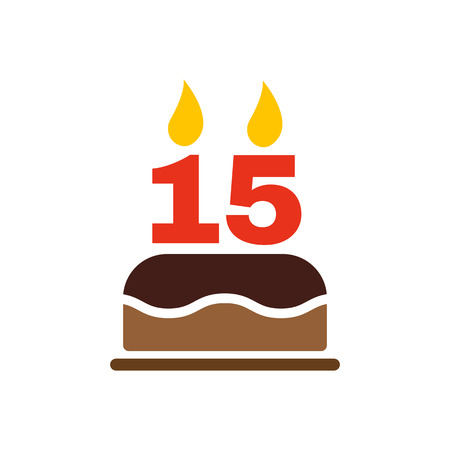 number 15: The birthday cake with candles in the form of number 15 icon. Birthday symbol. Flat Vector illustration Illustration