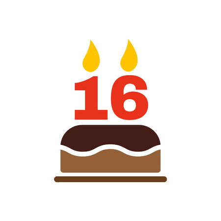 sweet sixteen: The birthday cake with candles in the form of number 16 icon. Birthday symbol. Flat Vector illustration