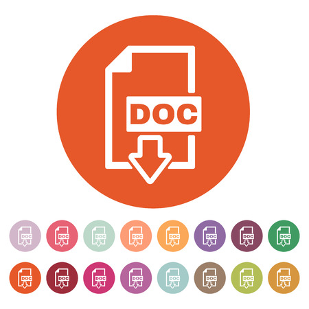 The DOC icon. Text file format symbol. Flat Vector illustration. Button Set