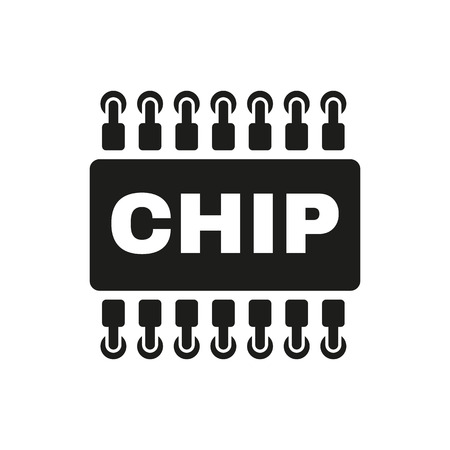 The chip icon. Microchip and microcircuit symbol. Flat Vector illustration