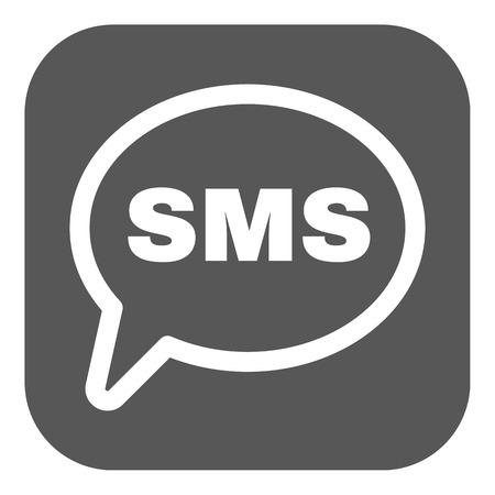 Sms のアイコン。テキスト メッセージのシンボル。フラットのベクター イラストです。ボタン