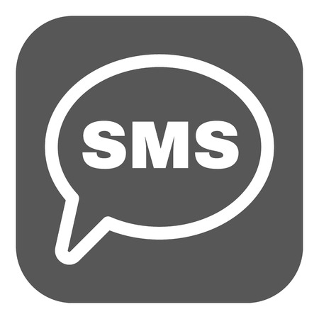 sms icon: The sms icon. Text message symbol. Flat Vector illustration. Button