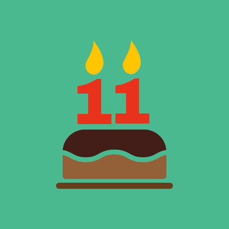 number 11: The birthday cake with candles in the form of number 11 icon. Birthday symbol. Flat Vector illustration