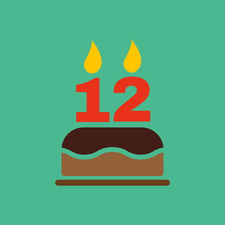 number 12: The birthday cake with candles in the form of number 12 icon. Birthday symbol. Flat Vector illustration