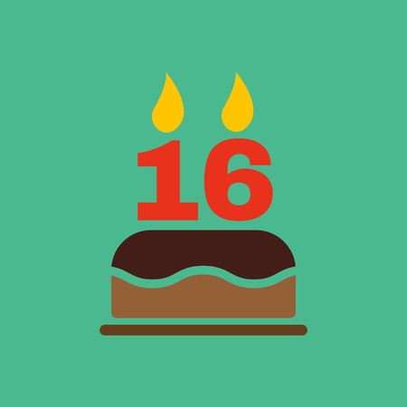 number 16: The birthday cake with candles in the form of number 16 icon. Birthday symbol. Flat Vector illustration