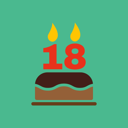 The Birthday Cake With Candles In Form Of Number 18 Icon