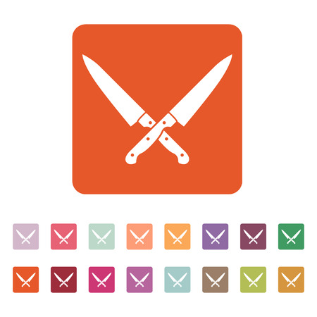The crossed knives icon. Knife and chef, kitchen symbol. Flat Vector illustration. Button Set Çizim