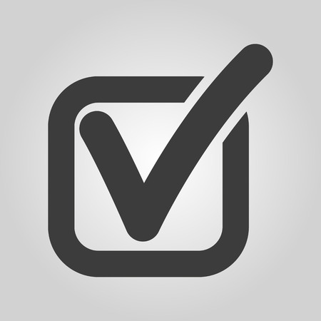checkbox: The check icon. Checkmark and checkbox, yes, voting symbol. Flat Vector illustration Illustration