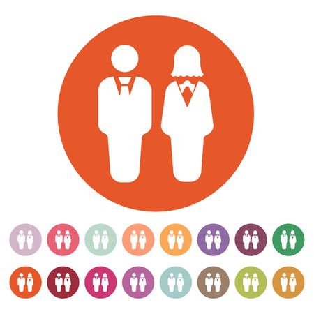 partners: The man and woman icon. Partners And Human symbol. Flat Vector illustration. Button Set Illustration