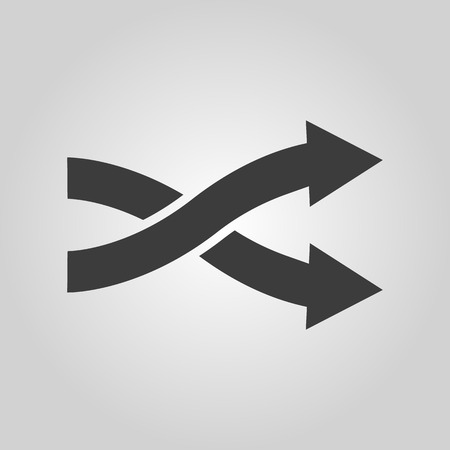 cross: The intersecting arrows icon. Exchange and turn, cross symbol. Flat Vector illustration