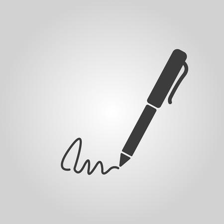 ratify: The signature icon. Pen and undersign, underwrite, ratify symbol. Flat Vector illustration Illustration