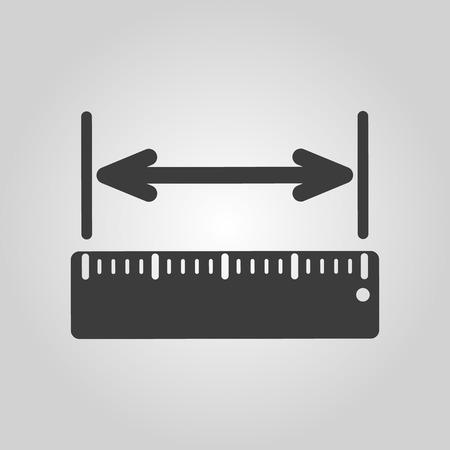 Ikona měření šířky. Pravítko a straightedge, měřítko symbol. Flat vektorové ilustrace Ilustrace