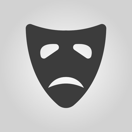 tragedy: The sad mask icon. Tragedy and theater symbol. Flat Vector illustration