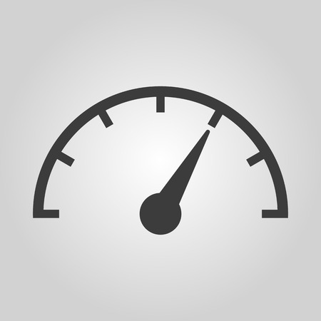 progress: The tachometer, speedometer and indicator icon. Performance measurement symbol. Flat Vector illustration