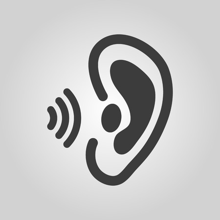 a sense of: The ear icon. Sense organ and hear, understand symbol. Flat Vector illustration