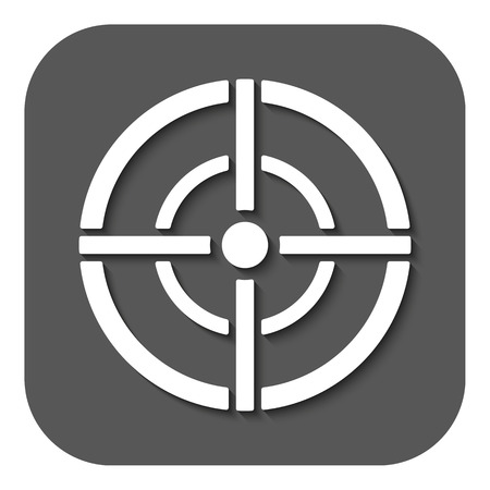 sharpshooter: The aim bag icon. Crosshair and target, sight, sniper symbol. Flat Vector illustration. Button