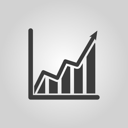 The growing graph icon. Growth and up symbol. Flat Vector illustration