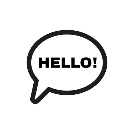 こんにちはのアイコン。あいさつ、こんにちはシンボルします。フラットのベクトル図