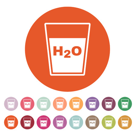 button front: The H2O icon. Water and drink, aqua symbol. Flat Vector illustration. Button Set