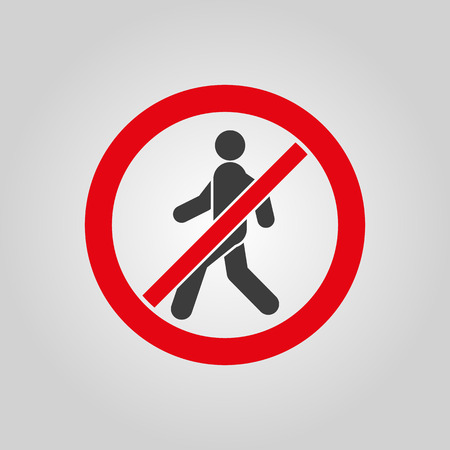 restricted access: The no entry icon. Disallowed and danger, warning symbol. Flat Vector illustration