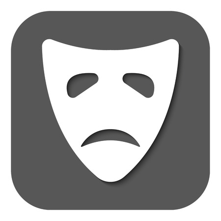 moods: The sad mask icon. Tragedy and theater symbol. Flat Vector illustration. Button Illustration