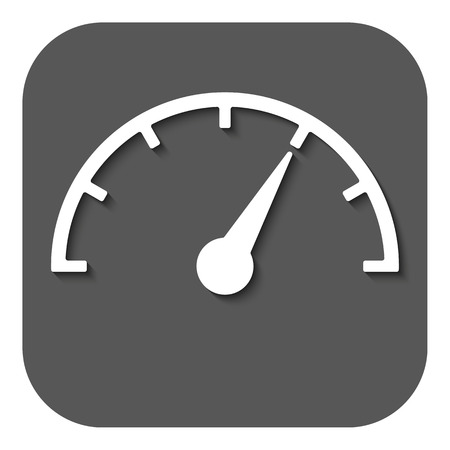 The tachometer, speedometer and indicator icon. Performance measurement symbol. Flat Vector illustration. Button
