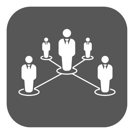 The teamwork icon. Leadership and connection, business teams symbol. Flat Vector illustration. Button