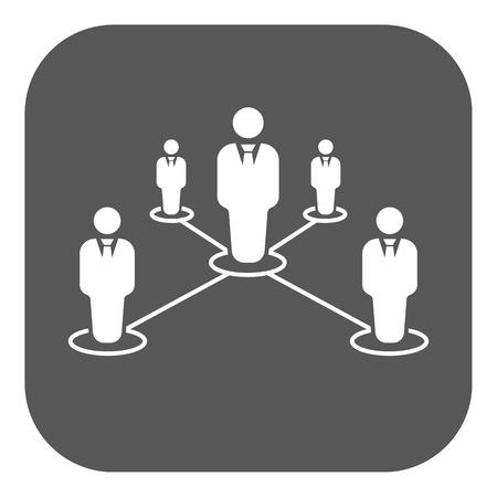 liderazgo: El icono del trabajo en equipo. Liderazgo y conexión, equipos de negocios símbolo. Ilustración vectorial Flat. Botón