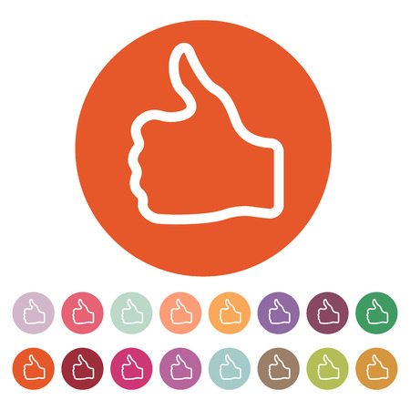 finger up: The thumb up icon. Like and yes, approve symbol. Flat Vector illustration. Button Set