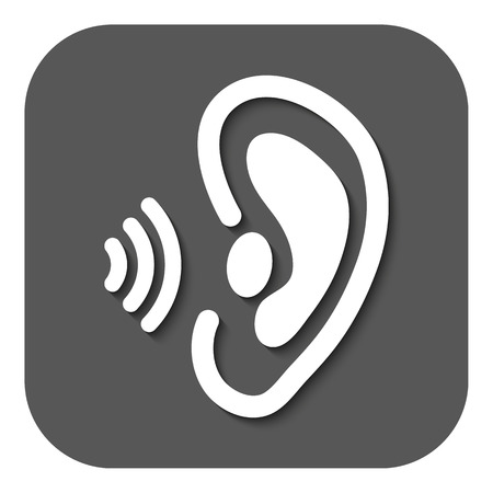 in ear: El icono de la oreja. �rgano de los sentidos y de escuchar, entender s�mbolo. Ilustraci�n vectorial Flat. Bot�n
