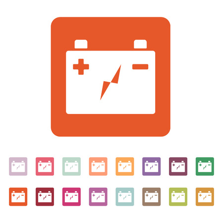 accumulator: The accumulator battery icon. Power and electric, energy, electricity symbol. Flat Vector illustration. Button Set Vettoriali