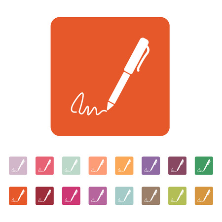 ratify: The signature icon. Pen and undersign, underwrite, ratify symbol. Flat Vector illustration. Button Set