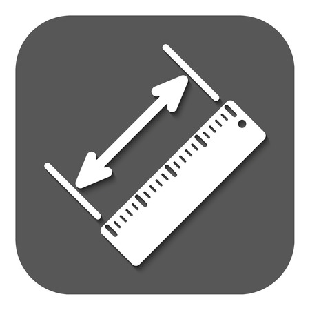 straightedge: The diagonal measurement icon. Ruler and straightedge, scale symbol. Flat Vector illustration. Button