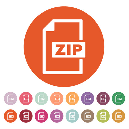 compressed: The ZIP file icon. Archive, compressed symbol. Flat Vector illustration. Button Set