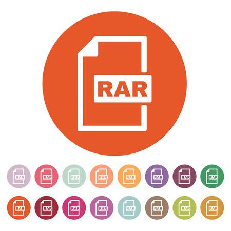 compressed: The RAR file icon. Archive, compressed symbol. Flat Vector illustration. Button Set Illustration